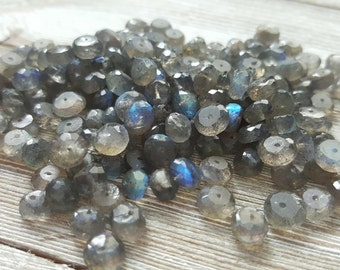 Flashy Labradorite Faceted Rondelle Beads, Blue Green Yellow Flash, 6-7mm, 30 Bead Set