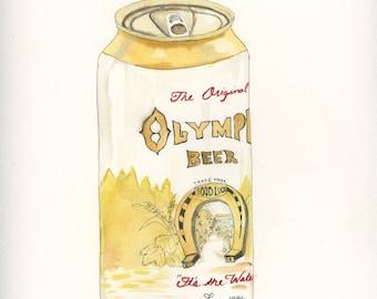 Olympia Beer watercolor
