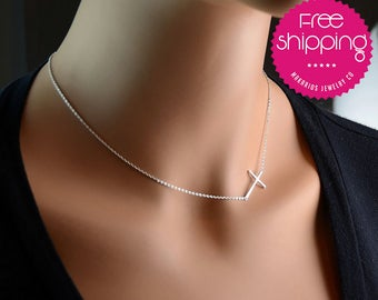 girlfriend gift.jewelry for her.sterling silver.girlfriend jewelry.gift for her.christmas gift for her.birthday gift for her(Sideways Cross)