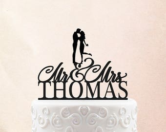 Custom Wood Gold Wedding Cake Topper Glitter Cake Topper With Date Kissing Couple Cake Topper 18