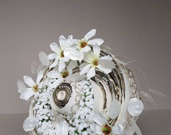 Round, permanent bridal bouquet, made of paper, magnolia and  baby's breath