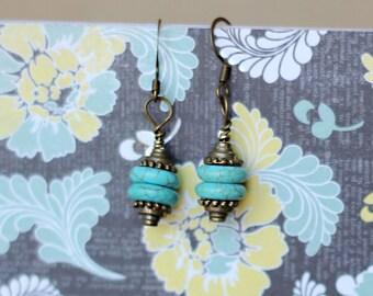 Handmade turquoise and bronze earrings