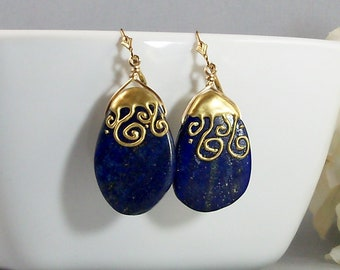 Lapis Lazuli Earrings, Blue Lapis Jewelry with 14K Gold Filled, Handmade Semiprecious Cobalt Blue Bead