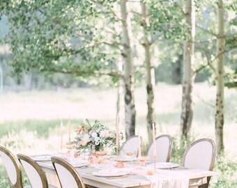 Peach silk runner | hand-dyed sheer silk fabric | crinkle silk runner | blush silk runner | Romantic Chiffon Runner | Flowly Table Runner