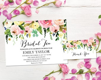 Printable Bridal Tea Party Invitation, Bridal Tea Invite Template,  Flower Bridal Tea Bridal Tea, Bridal Tea Party, INSTANT DOWNLOAD, BR-F3