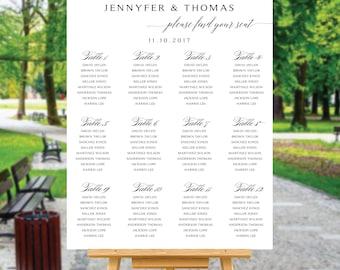 Wedding seating chart template, Wedding seating chart, wedding seating chart alphabetical, Navy seating chart, seating chart poster, #109W
