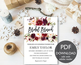 Bridal Brunch Invitation, Watercolor bridal invite, Floral Bridal Shower Card, Instant Digital Download File, Flower Bride DIY, Brunch PDF03