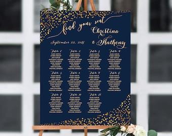 PRINTABLE Wedding Seating Chart, Wedding seating chart, Navy wedding seating chart, Wedding seating chart template, Gold seating chart, S151