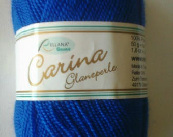 Carina gloss Pearl 50 gr. Color blue royal 22 for knitting and crochet