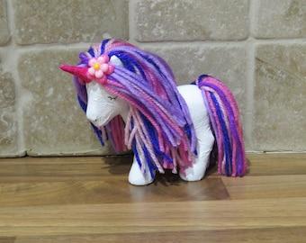 Unicorn Doll, toy figure, room decor, unicorn decoration, unicorn lover gift, hand painted, unicorn figure, OOAK my little pony custom