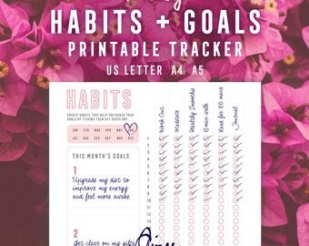 Pink Daily Habit + Goal Tracker Printable, Habit Planner, Goal setting, Checklist, Goal tracker, PDF, Digital Download, A4, US Letter, A5