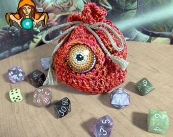 Eyeball Drawstring Dice Bag - Large - Orange/Pink/Brown