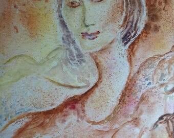 """Russian School-""""Portrait d'une femme"""", portrait of woman-signed G Amalric, 1983"""