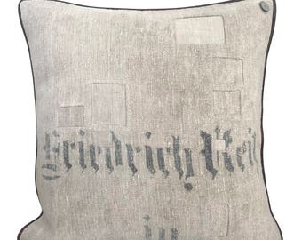 Antique German Grain Sack Pillow from 1896 22 x 22""