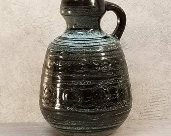 VTG 1960s-70s Strehla Keramik Jug Vase East German Pottery Fat Lava Era Midcentury Modern