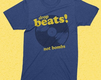 Drop Beats no Bombs T shirt - 100% net profit to Boys and Girls Club - heather blue - hip hop, vintage rap, charity, 80's t shirt, vintage