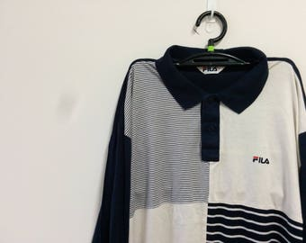 Vintage Fila striped - color block long sleeve polo shirt