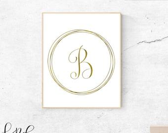 Letter B, gold, monogram, letter, initial, instant download, gold poster, printable art, wall art, gold monogram