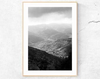 Black and White MOUNTAIN Fine Art PHOTOGRAPHY, Mountain Landscape PRINT, Vosges France Photo, Scandinavian Design, Digital Download