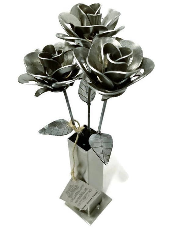 Three Metal Steel Forever Roses and Vase created by Welding Scrap Metal Steampunk Style making unique gifts and home decor!
