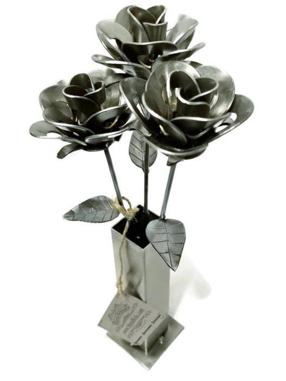 Three Metal Steel Forever Roses and Vase created by Welding Scrap Metal Steampunk Style making unique gifts and Modern Rustic home decor.