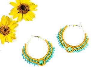 Unique Gift for Woman Gift under 20 Turquoise Earrings Boho Earrings Tribal Earrings Yellow Turquoise Earrings Round Earrings Beaded Jewelry