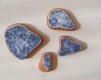 Set of 4  blu sea pottery,Italian Genuine Beach Pottery, Mosaic Pieces, Sea Pottery, Beach Finds, Craft Supplies.