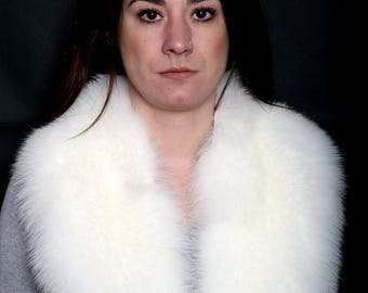 Genuine Real White Fox Fur Collar