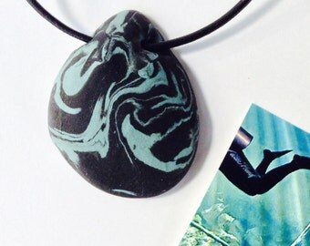 WATER 1 Nature Elements Necklace Unique Handmade Artistic Pendant Stone Adjustable Leather Cord Perfect Gift for Her