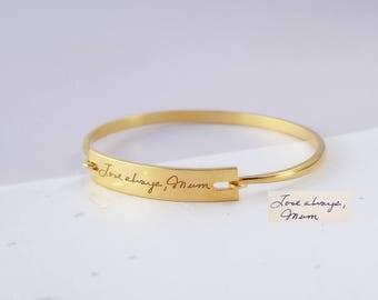 Custom Handwriting Bracelet - Engraved Handwritten Bangle - Real Handwritten Bar Bracelet - Signature Bangle - Keepsake Gifts