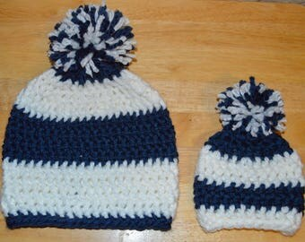 Child & Newborn Matching Crochet Pom Pom Hat Set