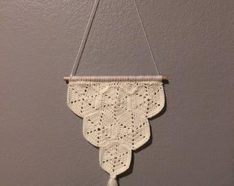 Crochet Bohemian Hexagon Fringe Wall Hanging - Crochet Home Decor