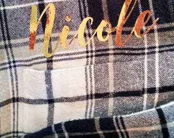 Personalized Flannel shirt, Bridesmaid flannel, Bridesmaid Getting Ready flannel shirt, Bridesmaid Gift, Wedding Party Flannel Shirt