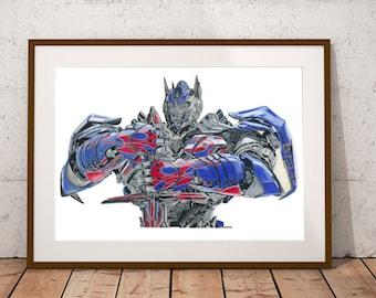 Optimus Prime Transformer A3 Matt Print Drawing in Colour