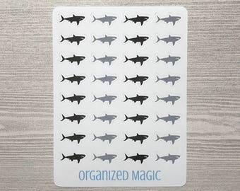 shark planner stickers, shark stickers, sea life stickers, ocean stickers