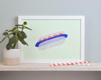 Art print» Hot Dog «- green».