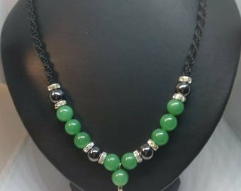 Set necklace and bracelet with Green Aventurine and Hematite