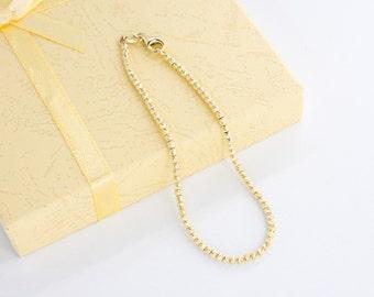 14k gold Beaded Bracelet - gold bead bracelet, 14k bead bracelet, 14 k solid gold bead bracelet, 14k gold bracelet for women, BB22Y