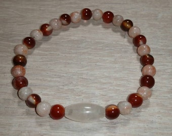 Fire Agate / Sunstone and Yellow Calcite Bracelet