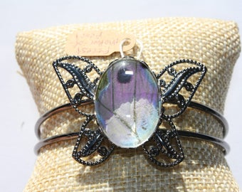Forest Mother-of-Pearl Butterfly Bangle Bracelet 046