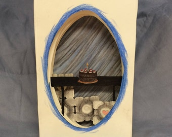 Portal Companion Cube Cake Tunnel Book Art