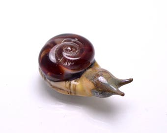 Lampwork animal bead making jewelry brown ivory  Snail jewelry snail necklace snail bead kid jewelry animal glass bead lampwork artisan