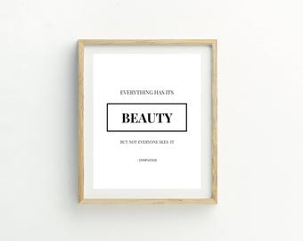 Everything Has Its Beauty Print | Confucius Quote | Andy Warhol Quote | Printable Art | Typography Print | Beauty Print | Beauty Quote | Art