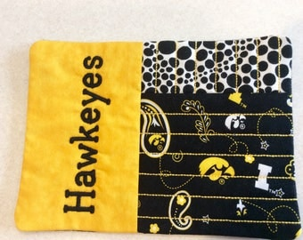 "Quilted Mug Rug, Hawkeye coaster, Snack placemat, Size 7.5""x5.5"""