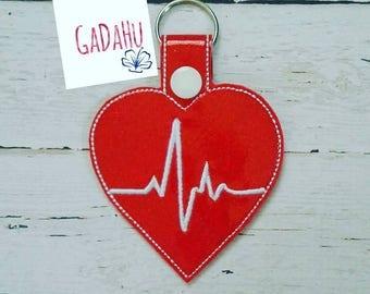 Nurse Key Fob Snap Tab Embroidery Design 4X4 size EKG Electrocardiogram