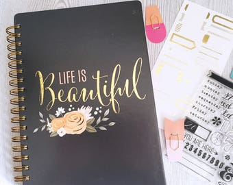 SALE Journal Notebook - Spiral Bound - Life is Beautiful - Blush Pink Roses Design - Gold Metallic - Gold Binding - American Crafts
