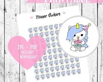 Birthday Stickers, Printable Stickers, Unicorn stickers, Birthday Planner stickers, Digital Download