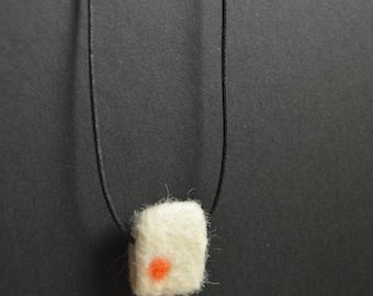 Felted Designer Necklace, Orange Sun