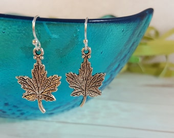 Maple Leaf Earrings - Canada Earrings - Woodland Earrings - Silver Leaf Earrings - Fall Earrings - Canada Jewelry - Maple Leaf Gift - Canada