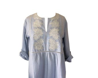 Happy to Be Here Stripe Tunic with Flower Embroidery